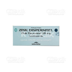 JUAL ZINC SULFATE KF 20MG DISP TAB 100S