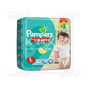 JUAL PAMPERS BABY DRY PANTS L 16S